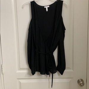 Cold shoulder wrap waist black chiffon top